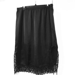 Black silky skirt with lace